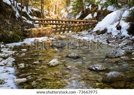 Winter scene of the White creek in  national park Slovak paradise, Slovak republic