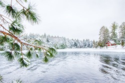 Winter scene on Beatons Lake in Gogebic County in the Ottawa National Forest in the Upper Peninsula of Michigan.