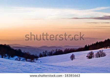 winter scenery in sunset light
