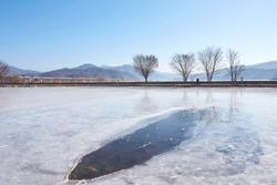 Winter scenery of Dumulmuri, a famous tourist attraction in Korea.