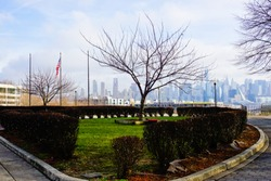 Winter scenery of Garden of Donnelly park with the background of Manhattan skyline west New York New Jersey usa