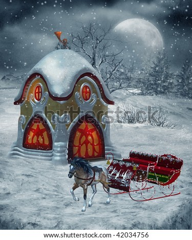 Kikis Delivery Service Stock-photo-winter-scenery-with-a-fantasy-post-office-and-a-sleigh-42034756