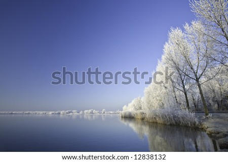 Winter scenic of a lake with snow covered trees.