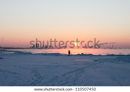 Winter sea fog can be seen when the outside air temperature (-22C) drops well below the water temperature.