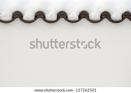 Winter Seasonal Image Of Thick Snow On Some Roof Tiles With Copy Space