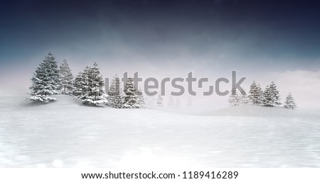 winter seasonal landscape with woods background, snowy calm nature 3D illustration render