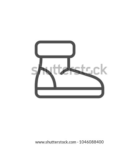 Winter shoe line icon isolated on white