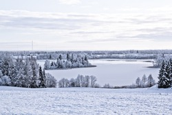 winter sight with lake
