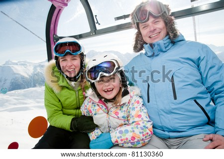 Winter - ski vacation - family in cable car