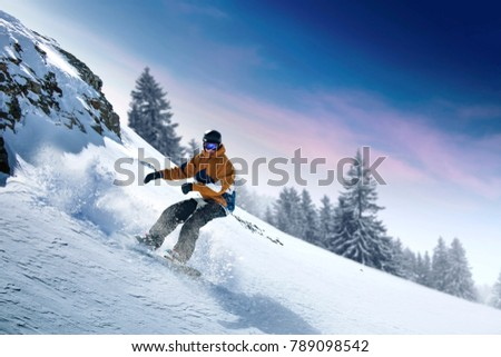 Winter skier and alps mountains landscape  #789098542