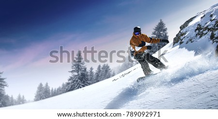 Winter skier and landscape of mountains  #789092971