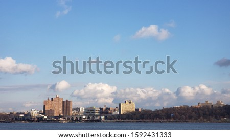 Winter sky and clouds and Manhattan panoramic view