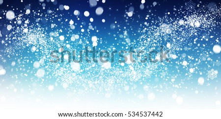 Winter snow background with snow flakes. Beautiful Christmas and New Year abstract. #534537442