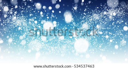 Winter snow background with snow flakes. Beautiful Christmas and New Year abstract. #534537463