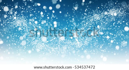 Winter snow background with snow flakes. Beautiful Christmas and New Year abstract. #534537472