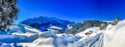 Winter snow covered mountain panoramic landscape