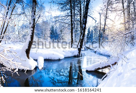 Winter snow forest river view. Winter forest river landscape. Snowy winter forest river scene. Winter forest river