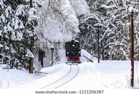 Winter snow forest train ride scene. Winter train ride view. Train ride in winter snow forest. Winter train snowy forest