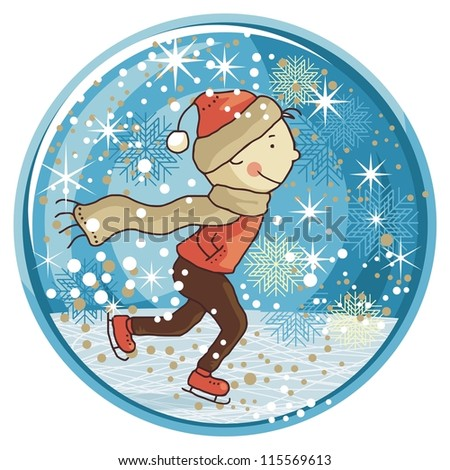 Winter snow globe with ice skating kid and seasonal elements