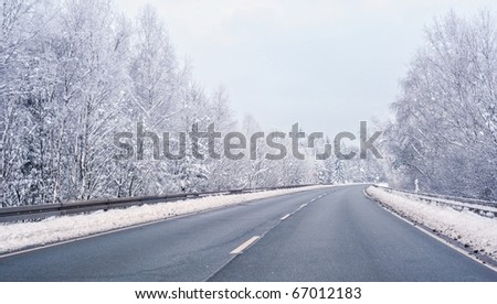 Winter snow highway