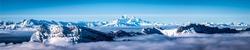 Winter snow mountain peak panorama. Snowy mountain winter panorama. Winter mountain snow panorama. Winter mountain snow panoramic landscape