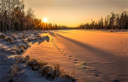 Winter snow nature sunset landscape. Sunset winter nature view. Winter sunset nature panorama. Sunset winter scene