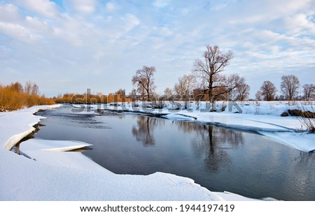 Winter snow river water landscape