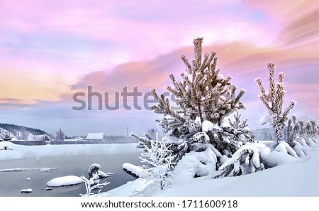 Winter snow rural river in evening. Winter snow scene. Winter snow rural scene. Winter snow landscape