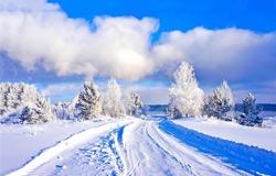 Winter snow rural road landscape. Rural winter snow road. Winter snow road view. Winter snow road