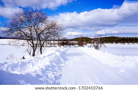 Winter snow rural road landscape. Winter snow road. Rural winter snow road. Winter road snow scene