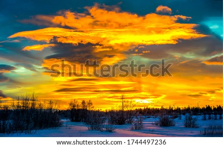Winter snow rural sunset sky clouds