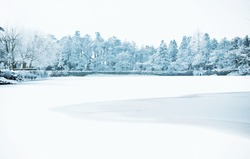 Winter, snow scene,Frozen lake, Famous scenic area, the Mount Lu of China