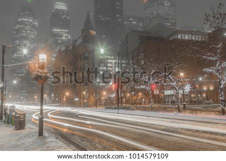 Winter Snow storm in Toronto night