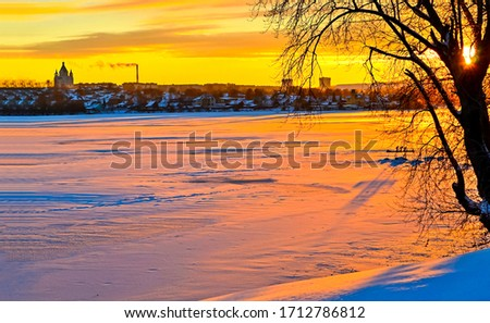 Winter snow sunset nature landscape. Sunset winter river snow view