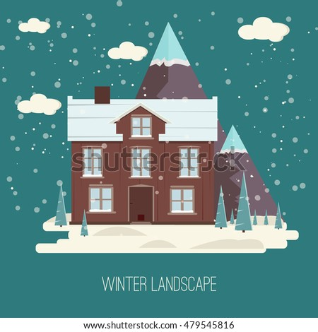 Winter Snow Urban Countryside Landscape City Village Real Estate New Year Christmas Night and Day Background Modern Flat Design Christmas house on a background of winter mountains, flat style