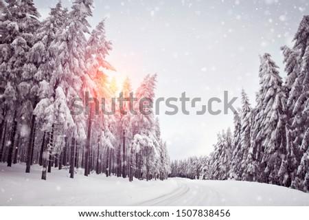 winter snowfall and icy road #1507838456