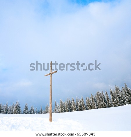 winter snowy fir trees on mountainside on overcast sky background and wooden cross in front (Carpathians, Ukraine; photo in square proportions)