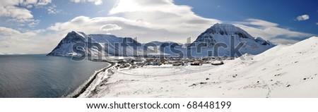 Winter snowy landscape, remote village Bolungarvik, West fjords, Iceland