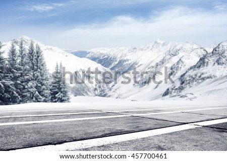 winter space and road and trees of snow with frost