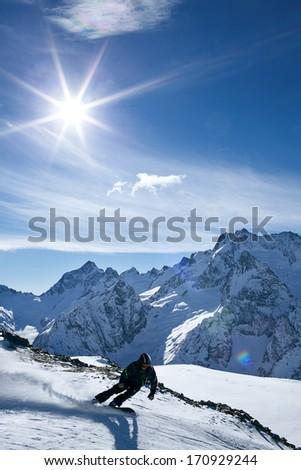 winter sport snowboarding in snow mountain