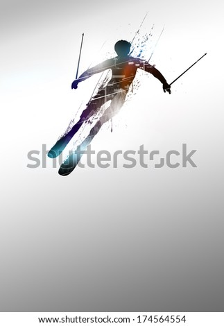 Winter sport vacation, skiing poster or flyer background with space
