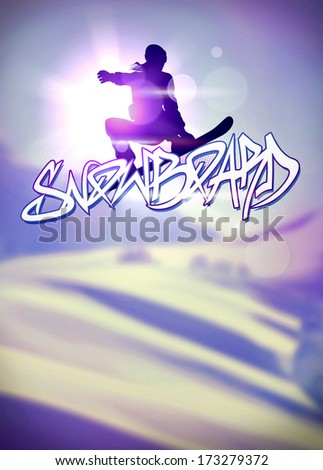Winter sport vacation, snowboard jump poster or flyer background with space