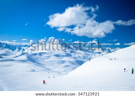 Winter sports and skiing activities, French Alps