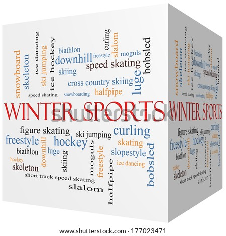 Winter Sports 3D cube Word Cloud Concept with great terms such as curling, skiing, snowboarding and more.