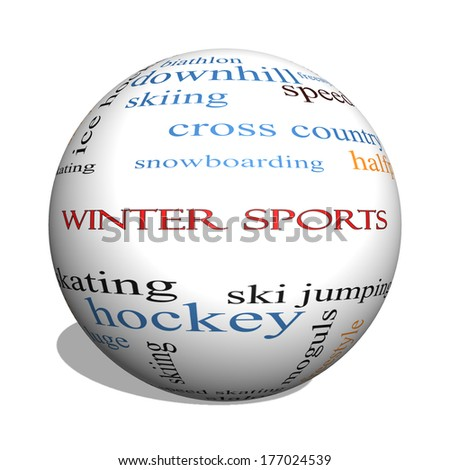 Winter Sports 3D sphere Word Cloud Concept with great terms such as curling, skiing, snowboarding and more.