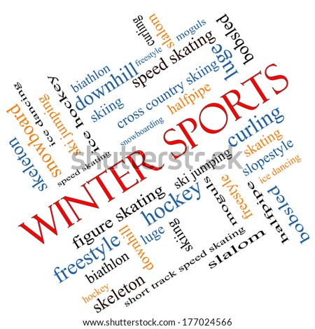 Winter Sports Word Cloud Concept angled with great terms such as curling, skiing, snowboarding and more.