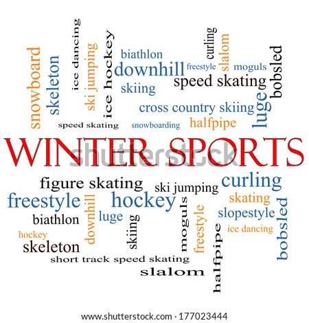 Winter Sports Word Cloud Concept with great terms such as curling, skiing, snowboarding and more.