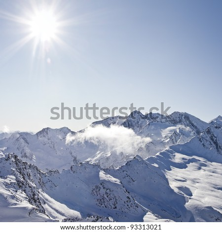 Winter square picture of the austrian alps