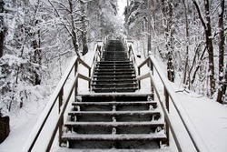 winter stairs cold snow white