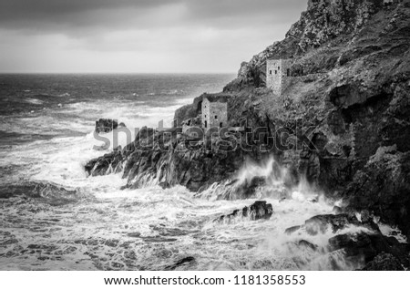 Winter Storm, Crown Engine Houses, Botallack, Cornwall, UK